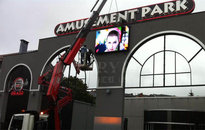 installing outdoor digital LED building signs